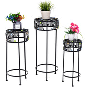 3 pc Round Display Ceramic Beads Metal Plant Stand