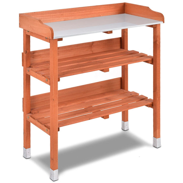Wooden & Metal Potting Bench Work Station with Hooks