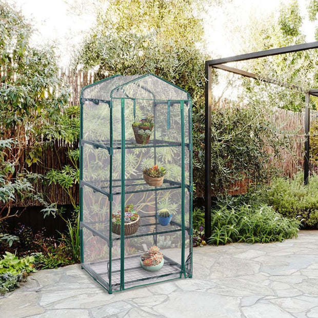 Outdoor Portable Mini 4-Shelf Greenhouse