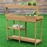 Garden Wooden Planting Potting Bench Table w/ Sink