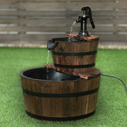 2-Tier Outdoor Wooden Barrel Waterfall Fountain with Pump