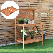 Folding Wood Potting Bench with Hook & Top/Bottom Shelf