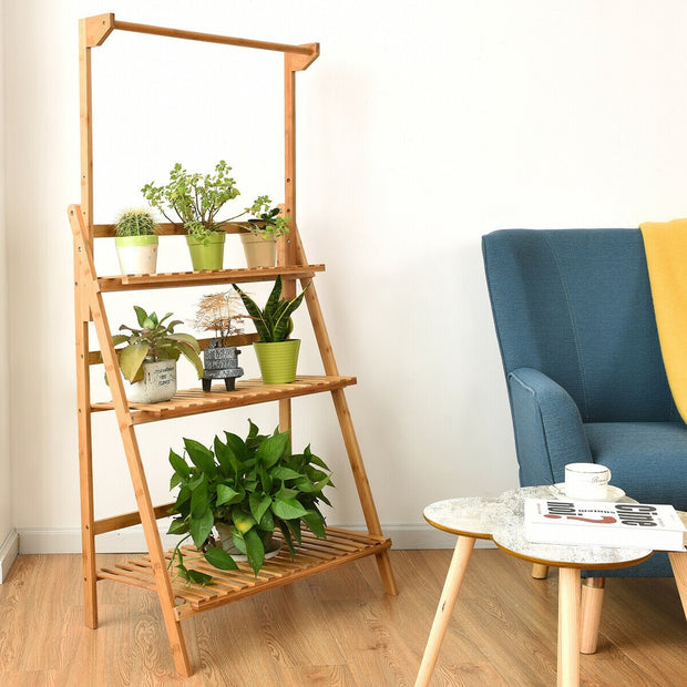 3-Tier Bamboo Hanging Folding Plant Shelf Stand