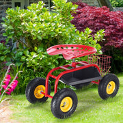 Red Garden Cart w/ Work Seat & Heavy Duty Tool Tray