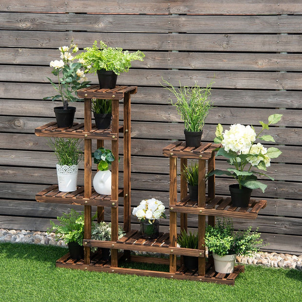 6-Tier Layered Wooden Plant Shelf