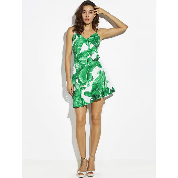 Tropical Leaf V-Dress