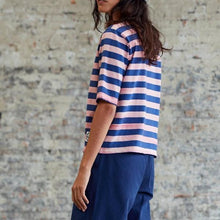 Girls of Dust Stripe Half Sleeve Shirt - Blue/Pink
