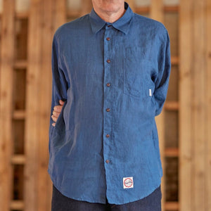 Eat Dust Indigo Blue Linen Combat Shirt