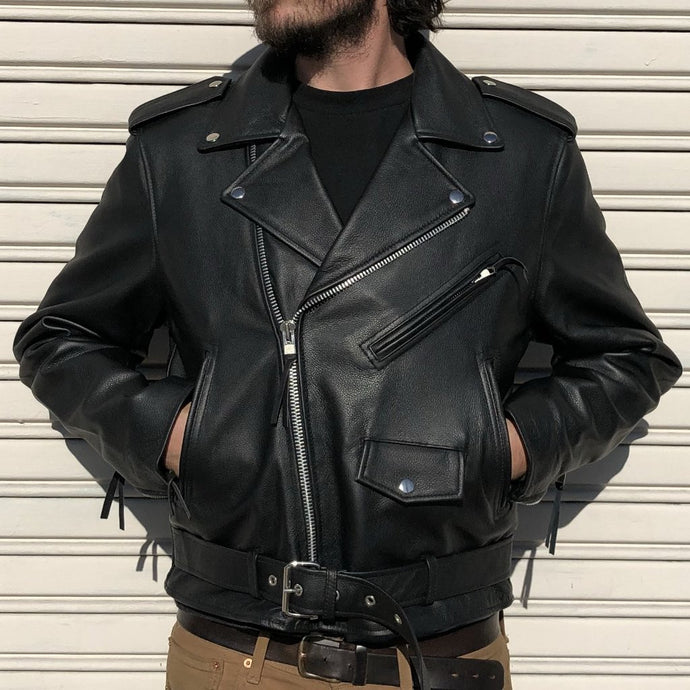 Classic Men's Leather Motorcycle Jacket - Black