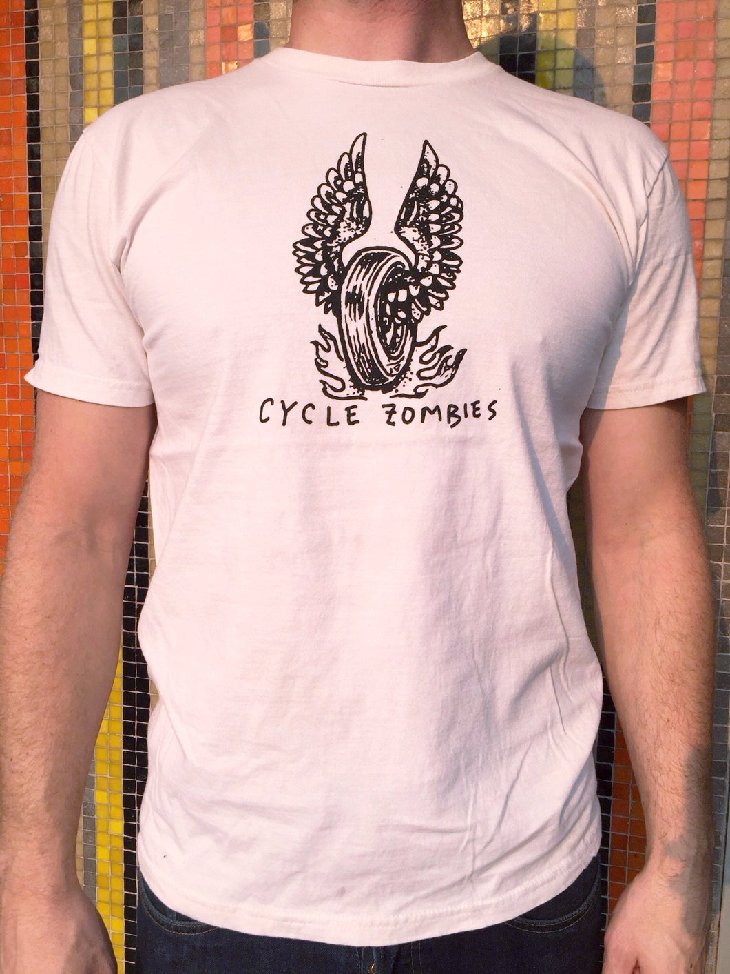 Cycle Zombies Winged Wheel Distressed T-Shirt - Off White