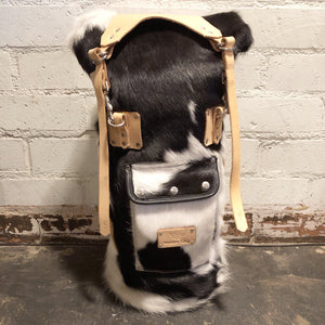 Mad Squirrel Hairy Sissy Bar Bag - Black & White Cowhide/Natural