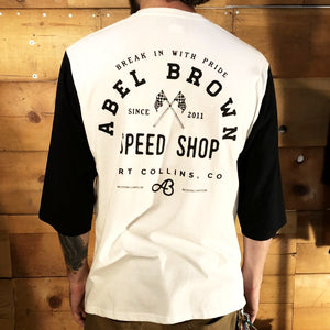 Abel Brown 3/4-Henley Rally Shirt - White
