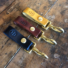 TRIco Skull Logo Leather Key Clip - Brown