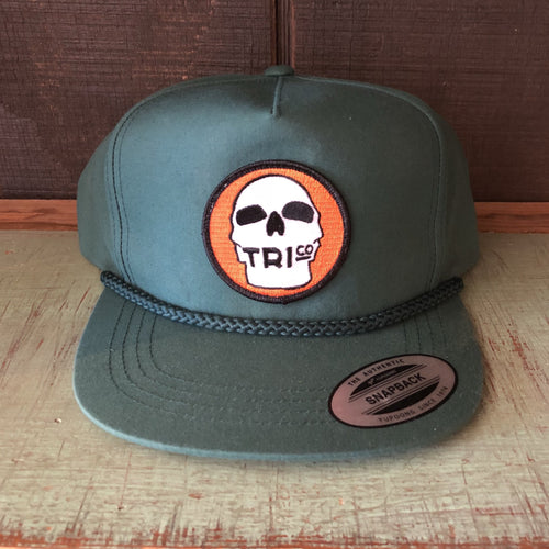 TRIco Skull Logo Canvas Trucker Hat - Green