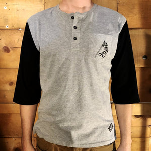Abel Brown 3/4-Henley Rally Shirt - Grey