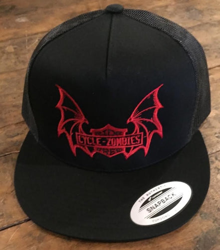 Cycle Zombies Embroidered Ride Free Batwing Trucker Hat - Black