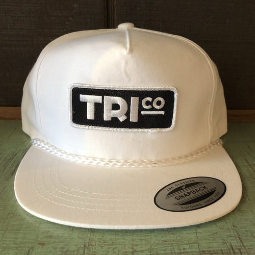 TRIco Block Logo Canvas Trucker Hat - White