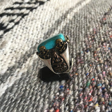 Turquoise Skull and Crossbones Ring