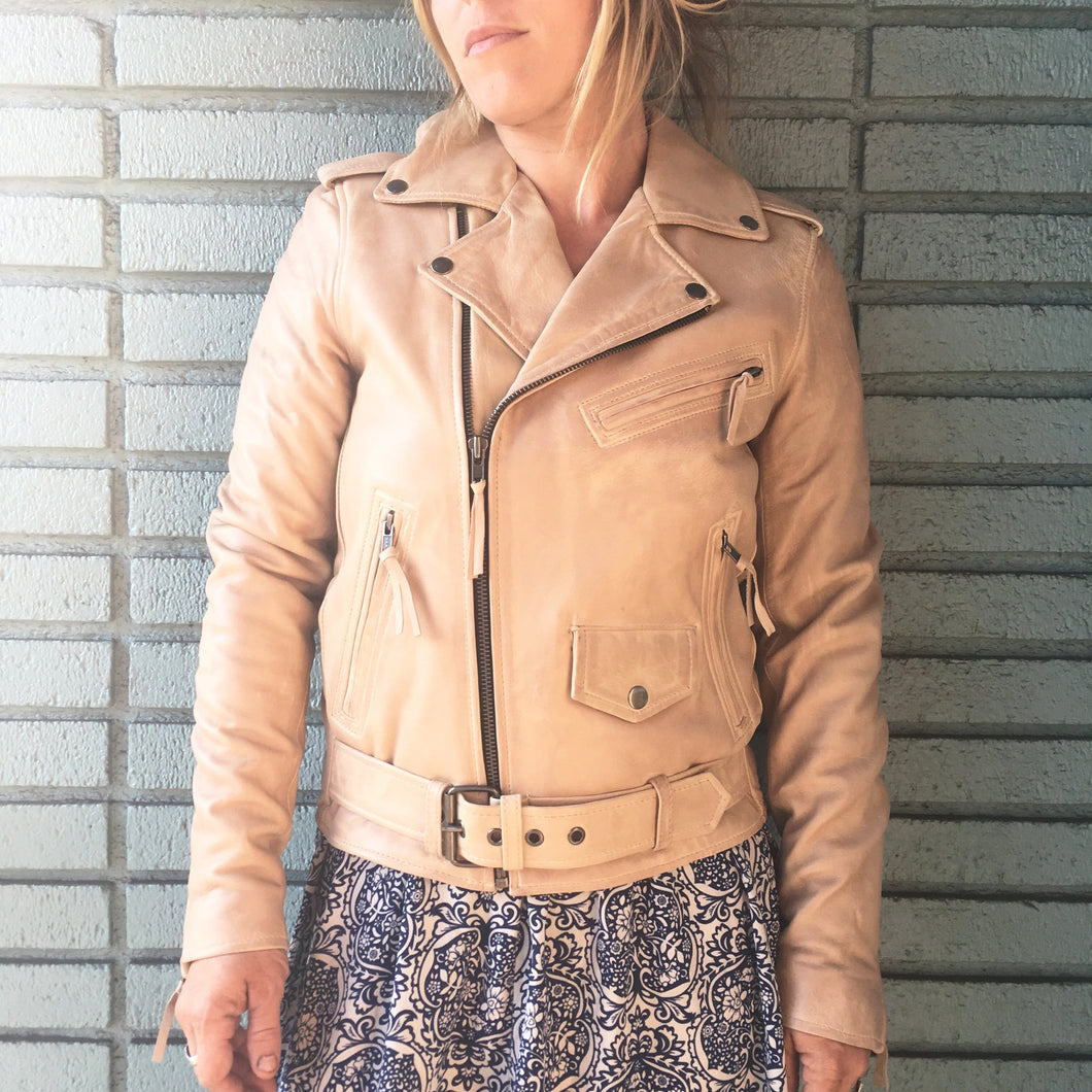 Classic Women's Leather Motorcycle Jacket - Cream