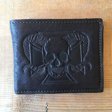 Heavy Leather NYC Horned Skull Black Bifold Wallet