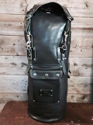 Mad Squirrel Leather Sissy Bar Bag - Black/Black