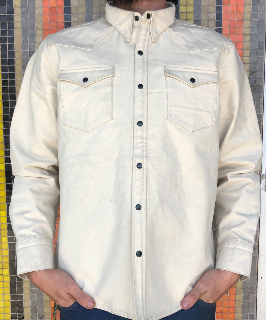Canvas Western Shirt - White