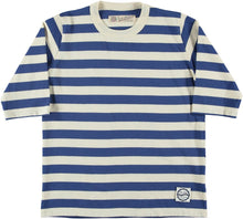 Girls of Dust Stripe Half Sleeve Shirt - Blue/Off-White