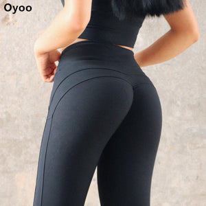 e7bb17aab9edb Oyoo Solid Booty Up Sports Legging Women's Compression Thigts M Line Butt  Lift Workout Leggings Hip Push Up Stretch Yoga Pants