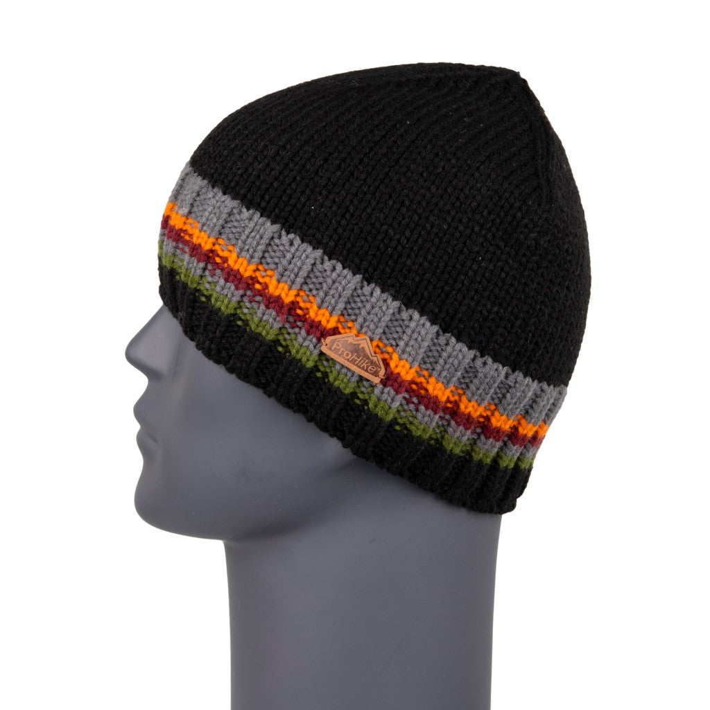 Men's Beanie Black Stripe