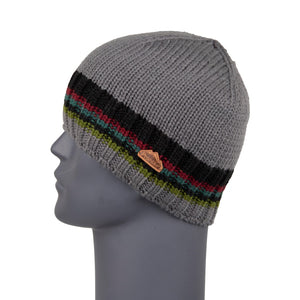 Men's Beanie Grey Stripe