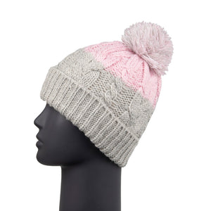Bobble Hat Waterproof Grey/Pink