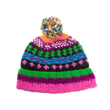 Load image into Gallery viewer, Himalayan Knitted Bobble Hat Purple