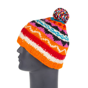 Himalayan Knitted Bobble Hat Orange