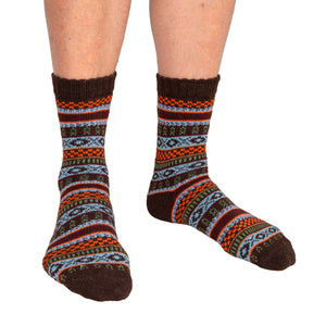 Men's Socks Patterned Brown