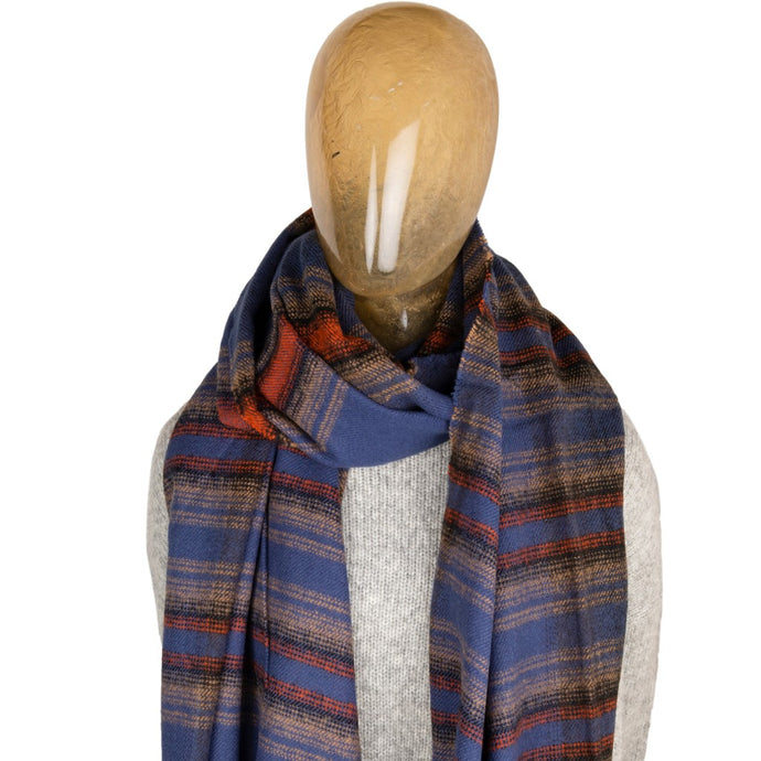 Blanket Scarf Stripe Blue