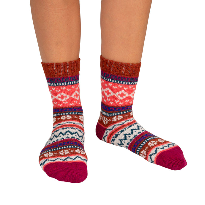 Women's Socks Patterned Burgundy