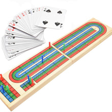 Load image into Gallery viewer, Wood Cribbage Board & Playing Cards