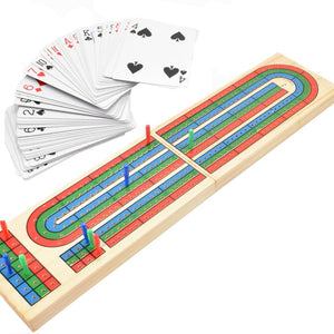 Wood Cribbage Board & Playing Cards