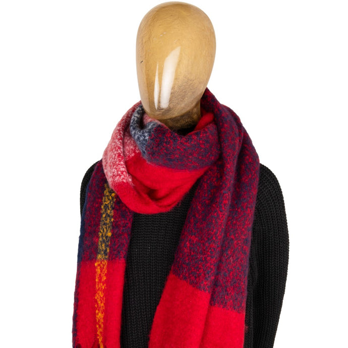 Blanket Scarf Block Colour Red