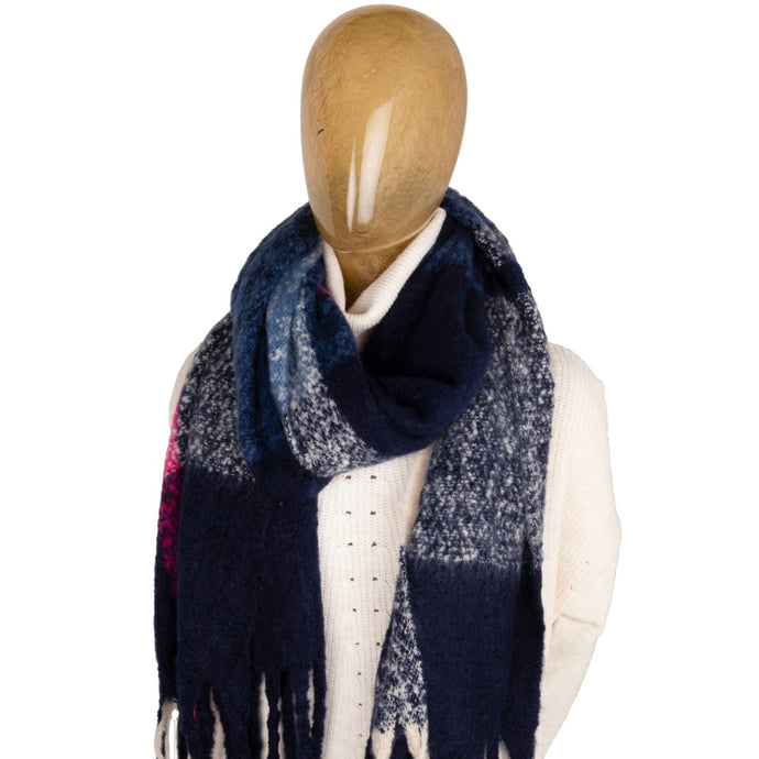 Blanket Scarf Block Colour Blue