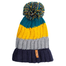 Load image into Gallery viewer, Bobble Hat Chunky Stripe Yellow/Blue/Grey