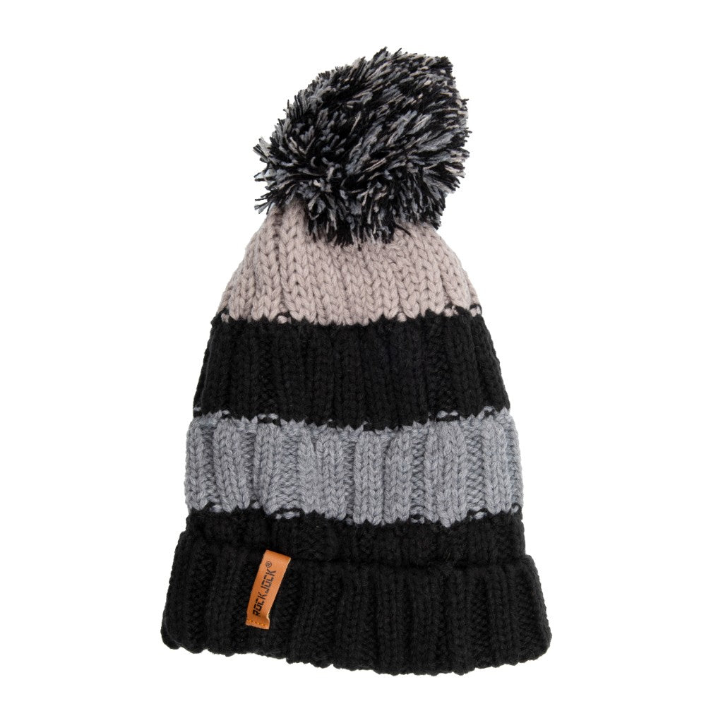 Kids Bobble Hat Chunky Black/Grey Stripe