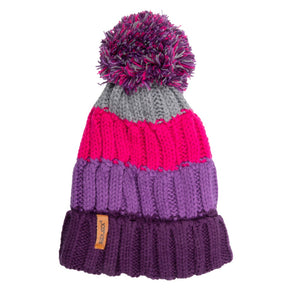 Kids Bobble Hat Chunky Pink/Purple Stripe