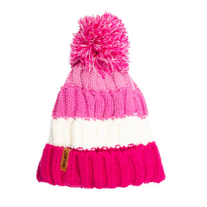 Kids Bobble Hat Chunky Pink/White Stripe