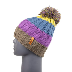 Bobble Hat Chunky Stripe Purple/Blue/Grey