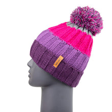 Load image into Gallery viewer, Bobble Hat Chunky Stripe Purple/Pink