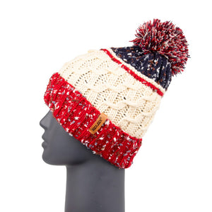 Beanie Fleckled Trim with Bobble Red/White