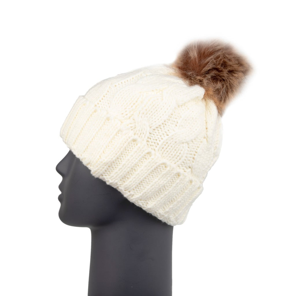 Beanie with Detachable Bobble Cream