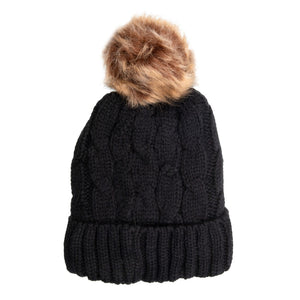 Beanie with Detachable Bobble Black