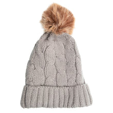 Load image into Gallery viewer, Beanie with Detachable Bobble Grey